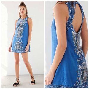 UO Ecote Guinevere Open Back frock dress blue boho